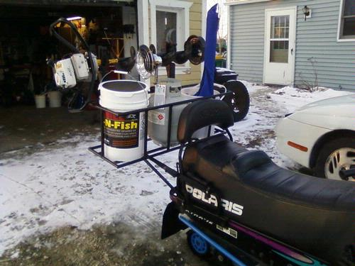 Snowmobile set up for Ice fishing