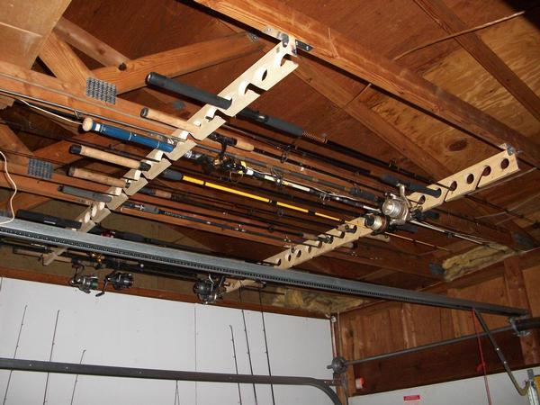 Ceiling mounted rod racks for Fishing rod ceiling rack