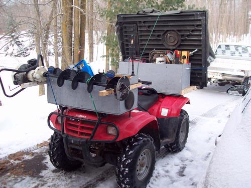 Atv front rack box with auger holder for Ice fishing battery box