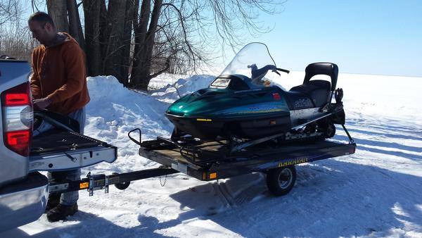 Snowmobile pics setup for icefishing for Atv ice fishing accessories