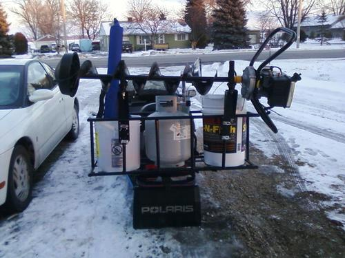 Front snowmobile rack for Atv ice fishing accessories