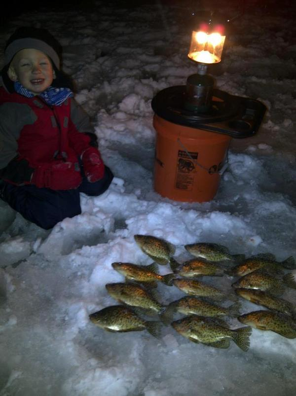 Crappies at night for Ice fishing at night
