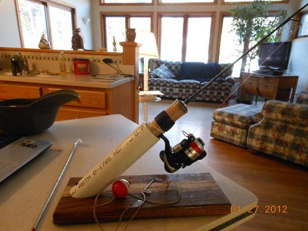 homemade ice fishing rod holder car interior design. Black Bedroom Furniture Sets. Home Design Ideas