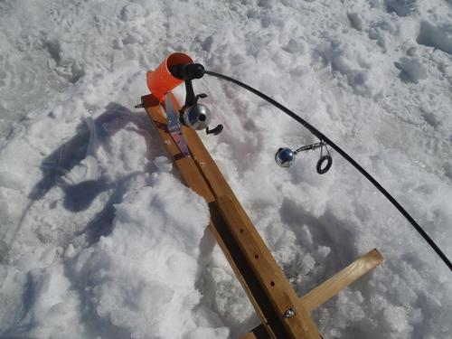 My homemade automatic fisherman for Ice fishing rod holder