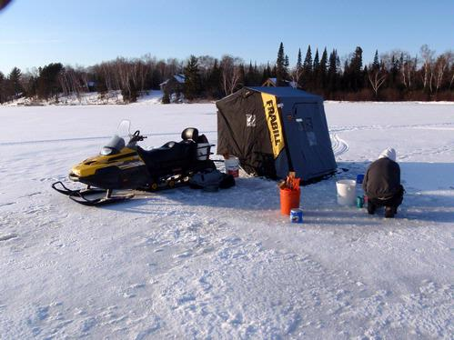 Snowmobile set up for ice fishing for Ice fishing snowmobile