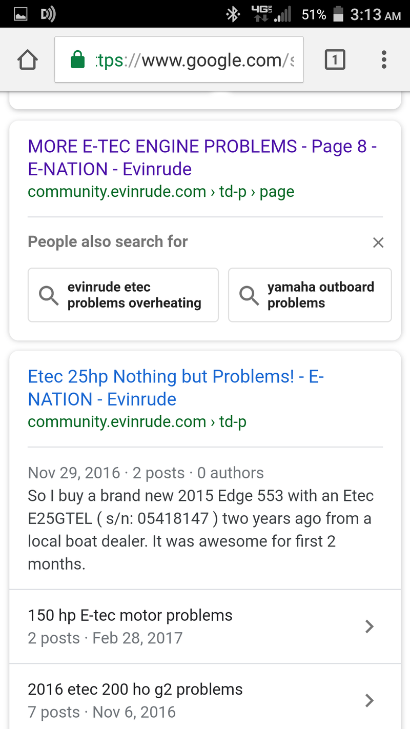 Evinrude G2 Problems