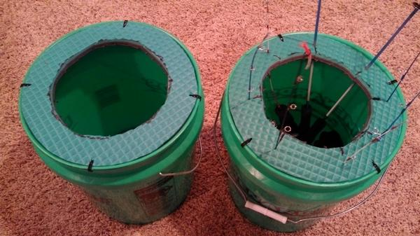 Homemade ice fishing stuff for Ice fishing bucket