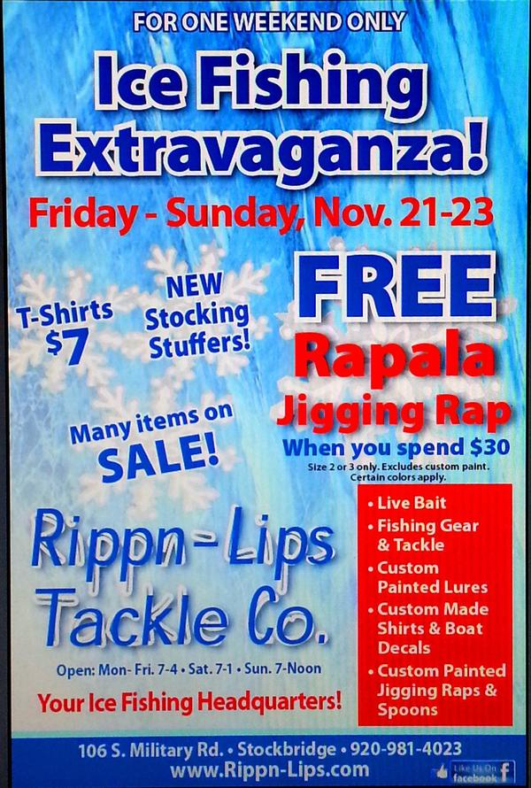 Ice fishing stock up extravaganza sale rippn lips tackle for Ice fishing extravaganza