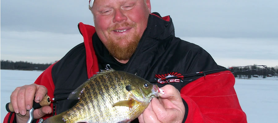 First Ice Panfish - Ice-fishing action can be good all season, but it seems like anglers get really excited about early ice, and ponds and small, wind-protected lakes are the first places to offer early ice-fishing.