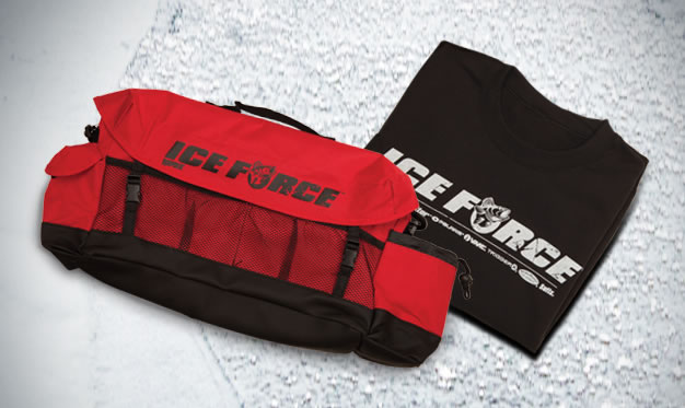 Free ice force sweatshirt tackle bag with qualifying for Ice fishing bag