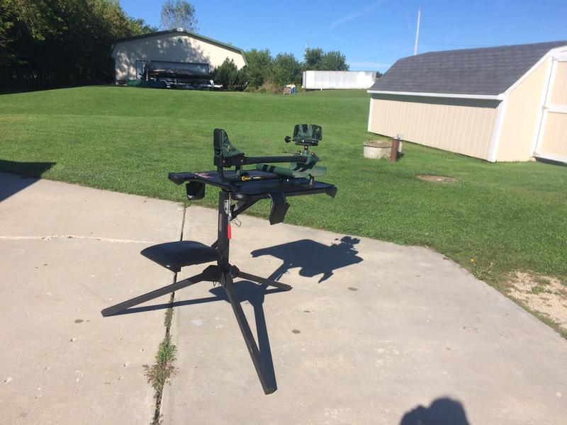 Big Game Treestands Shooting Bench With A Caldwell Shooting Rest